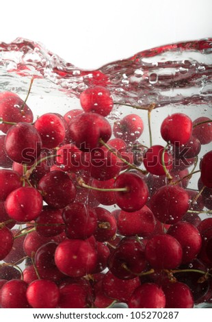 Refreshing image of Cherries underwater - stock photo