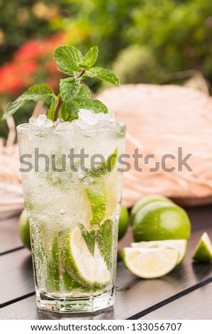 Refreshing Lime Mojito cocktail after gardening, a Cuban cocktail made with cuban rum, lime, sugar and a splash of soda - stock photo