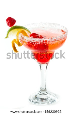 refreshing raspberry margarita isolated on a white background garnished with a lime and an orange twist - stock photo
