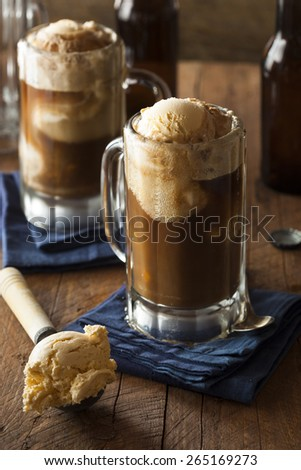 Refreshing Root Beer Float with Vanilla Ice Cream - stock photo