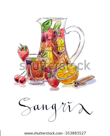 Refreshing sangria (punch), beverage in pitcher and glass with fruits: strawberries, cherries, oranges and lemon, hand drawn, watercolor - Illustration - stock photo