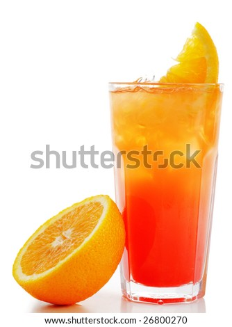 Refreshment Alcoholic Drink with Tequila, Orange Juice, and Grenadine Syrup. Isolated on White Background. - stock photo