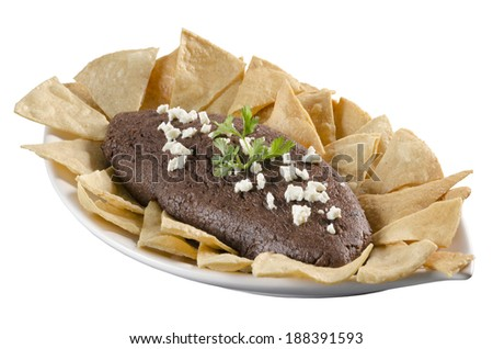 Refried Mexican beans Delicious snack typical of the Mexican cuisine  - stock photo