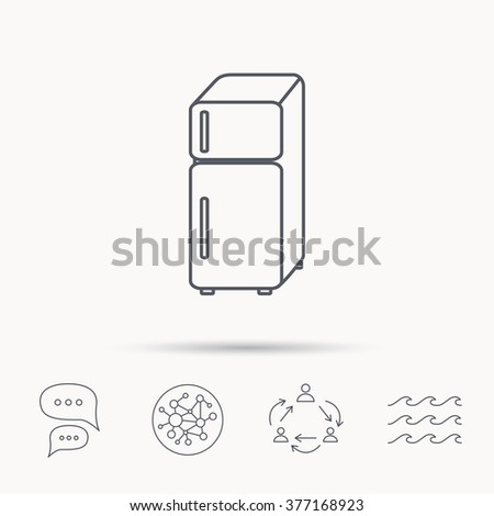 Refrigerator icon. Fridge sign. Global connect network, ocean wave and chat dialog icons. Teamwork symbol. - stock photo