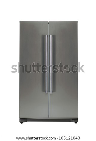 Refrigerator isolated on white - stock photo