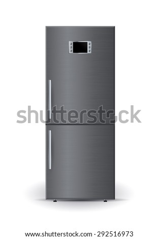 Refrigerator. Isolated on white background. Raster version - stock photo