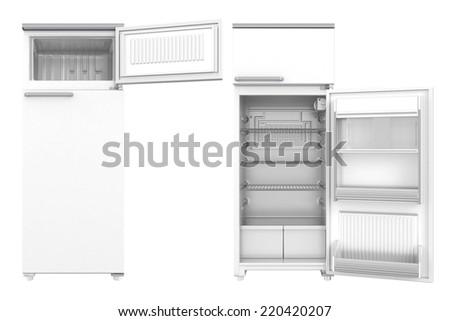 Refrigerator on white background. 3D image - stock photo