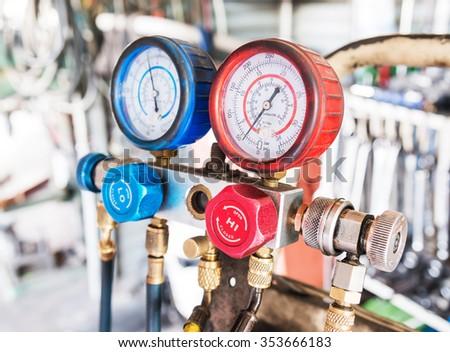 Refrigerator pressure gauges, manometers,quipment Measure of Air Conditioner - stock photo