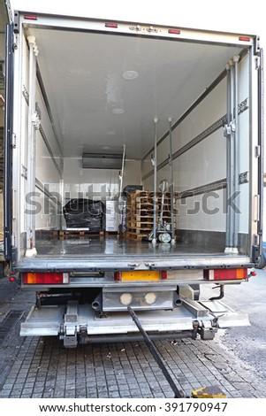 Refrigerator Truck For Perishable Freight Transport - stock photo