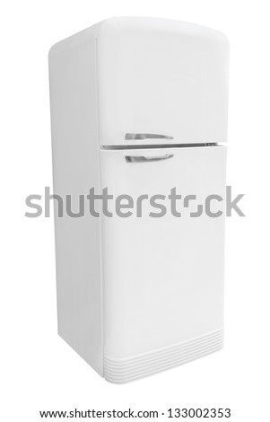 refrigerator under the white background - stock photo