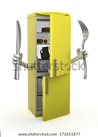 refrigerator with arms, fork and knife on hands, 3d illustration - stock photo