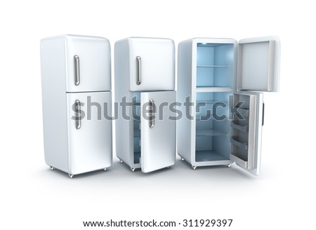 Refrigerators on white background. 3D render - stock photo