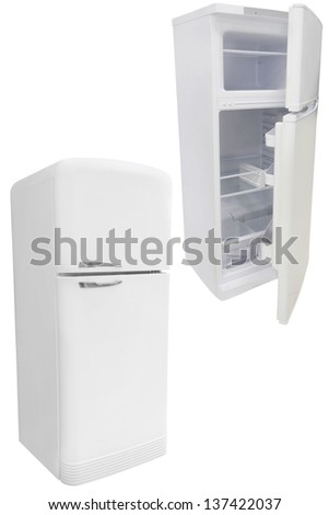 refrigerators under the white background - stock photo