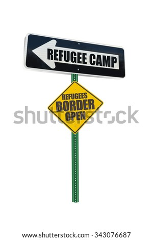 Refugee Camp One Way Directional Arrow Border Yellow Open Traffic Sign isolated on white background - stock photo