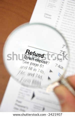 Refund from tax form 1040 - stock photo