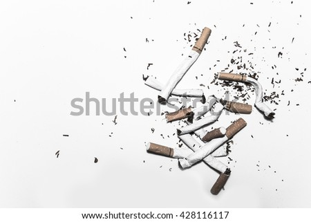 refusing cigarettes , Concept for stop smoking cigarette and healthy lifestyle,monochrome - stock photo