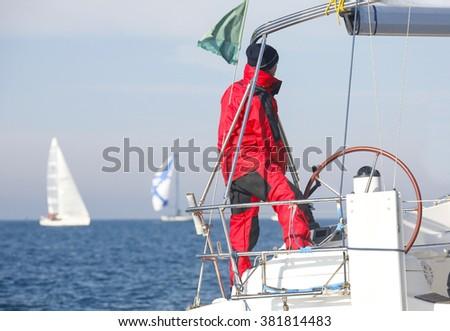 regatta in the Mediterranean sea in Italy - stock photo