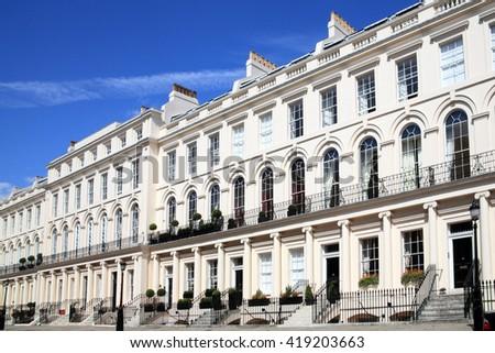 Regency Georgian terraced town houses in, London ,England - stock photo