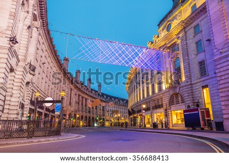 Regent Street on Christmas morning. Totally empty roads on the 25th of December at London's famous shopping street - London, UK - stock photo
