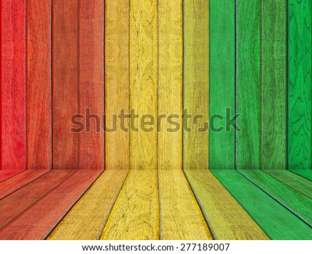 reggae color with wooden wall Background - stock photo