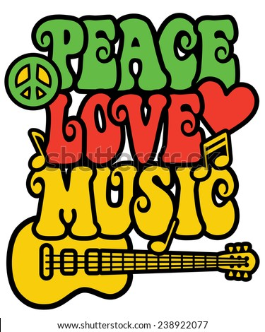 Reggae-inspired Peace Love Music text design with guitar, peace symbol, heart and musical notes. - stock photo
