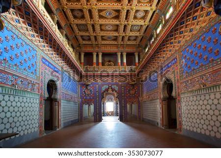 """Reggello, Italy - May 12, 2014: The hall of """"Non Plus Ultra"""" of Sammezzano Castle in moorish architecture style - stock photo"""