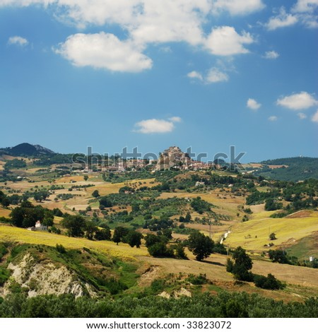 Region Molise in center Italy, the little villages are Limosano and S.Angelo Limosano - stock photo