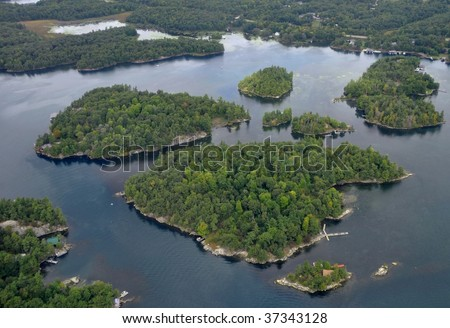 region of the 1000 Islands, ON Canada aerial - stock photo