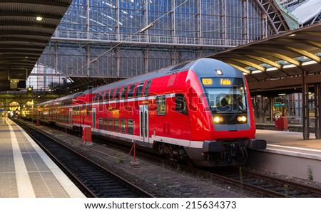 Regional express train in Frankfurt am Main station, Germany - stock photo