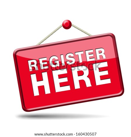 register here en no sign or icon. Membership registration sticker.  - stock photo