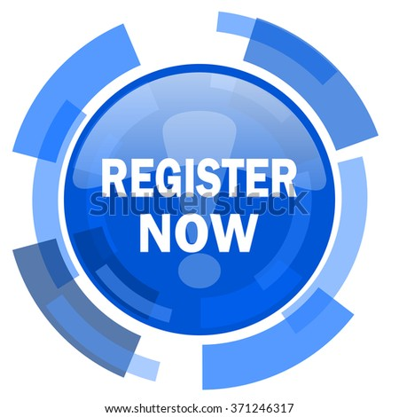 register now blue glossy circle modern web icon - stock photo