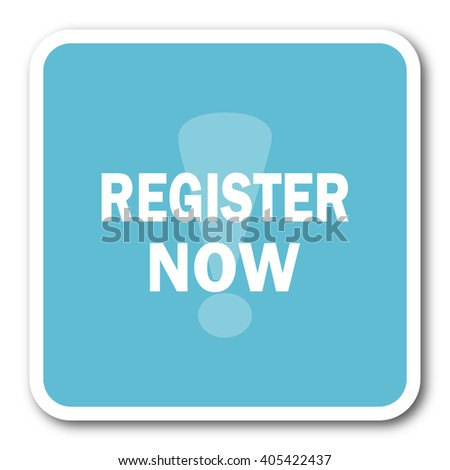 register now blue square internet flat design icon - stock photo