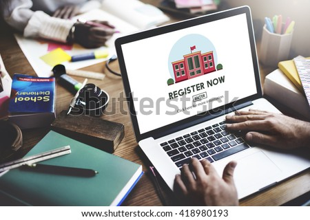 Register Now E-learning Education Website Concept - stock photo