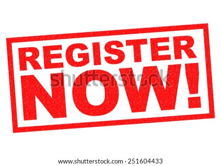 REGISTER NOW! red Rubber Stamp over a white background. - stock photo