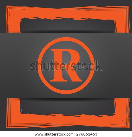 Registered mark icon. Internet button on grey background.