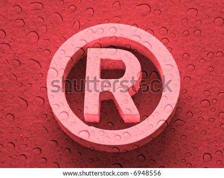 Registered trademark in a red background with water drops - stock photo