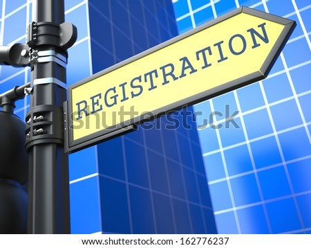 Registration - Word on Yellow Roadsign on Blue Urban Background. Business Concept. - stock photo