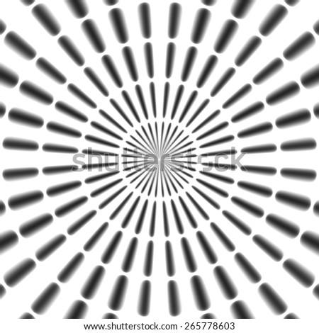 Regular black and white radial rays pattern made seamless - stock photo