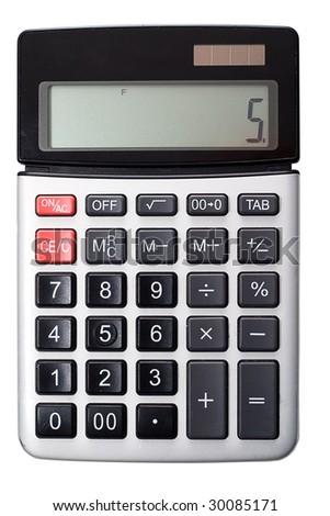 Regular office calculator medium-sized. Isolated on a white background, without shadows. - stock photo
