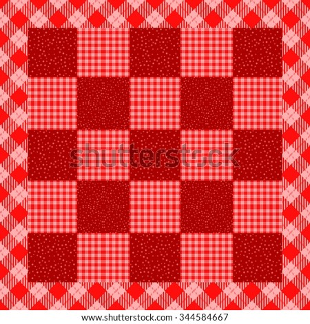 Regular red white patchwork contains snowflakes and checked pattern with border - usable too as seamless wallpaper - winter and Christmas decorative background - stock photo