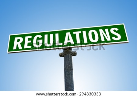 REGULATION word on green road sign - stock photo