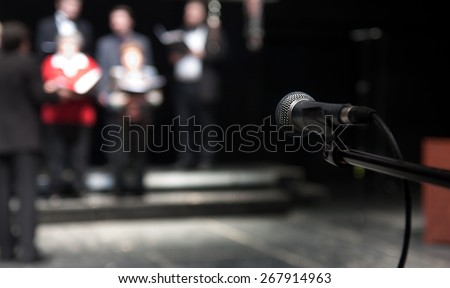 Rehearsal of a theatrical performance - actors and singers - stock photo