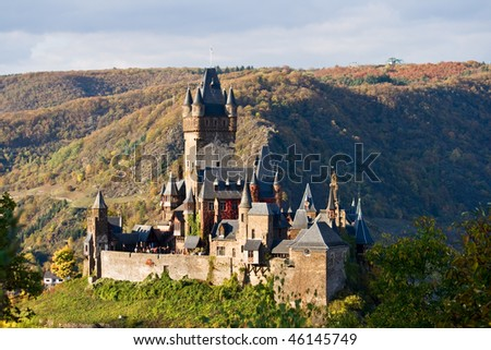 Reichsburg castle in Cochem, Germany. - stock photo