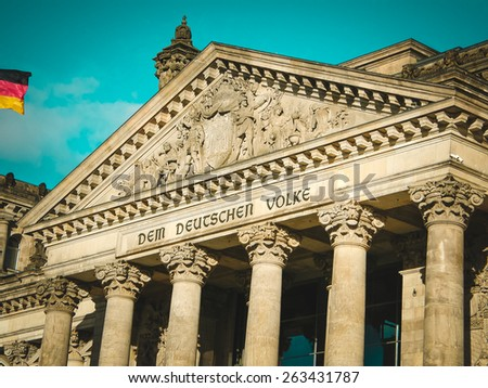 Reichstag building. Berlin. View of national symbol of Germany. Landmark of central part of the country. - stock photo