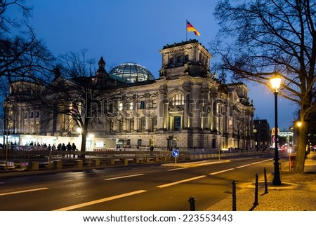 Reichstag building in Berlin during night, Germany  - stock photo