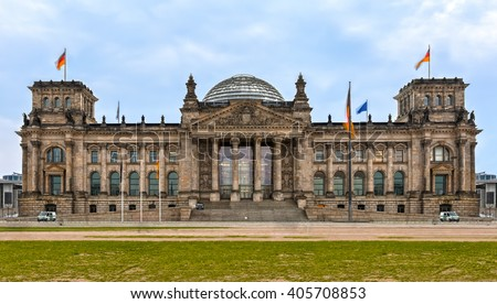 Reichstag in Berlin, Germany, no people - stock photo