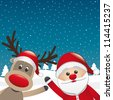 reindeer and santa claus wave winter landscape - stock photo