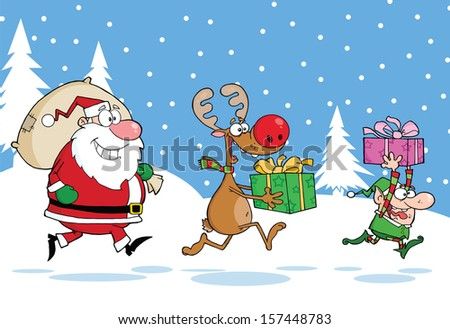 Reindeer, Elf  And Santa Claus Carrying Christmas Presents In Christmas Background. Raster Illustration - stock photo