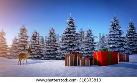 reindeer looks at christmas gift boxes on snowy ground with pine trees in background. - stock photo