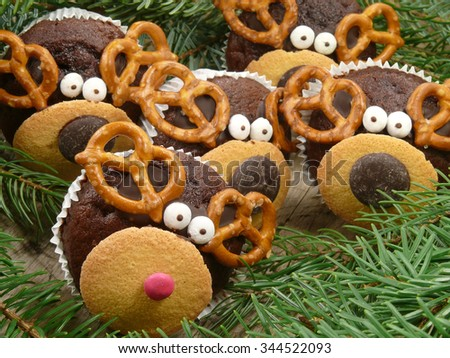 reindeer muffins, rudolf and friends - stock photo